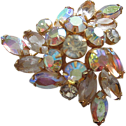 Amber Aurora Borealis & Champagne Rhinestone Brooch Pin ~ REDUCED!