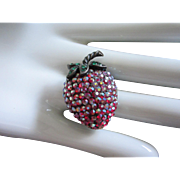 Weiss Aurora Borealis Rhinestone Strawberry Pin ~ REDUCED 1/2 OFF!