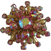 Vintage Pink Aurora Borealis Rhinestone Pin Brooch ~ REDUCED!