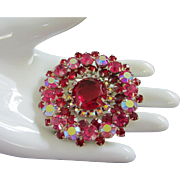 Dazzling Ruby Red, Fuchsia and Raspberry AB Rhinestone Brooch Pin ~ REDUCED!