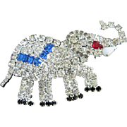Sparkling Patriotic Political Rhinestone Elephant Pin Brooch ~ REDUCED!