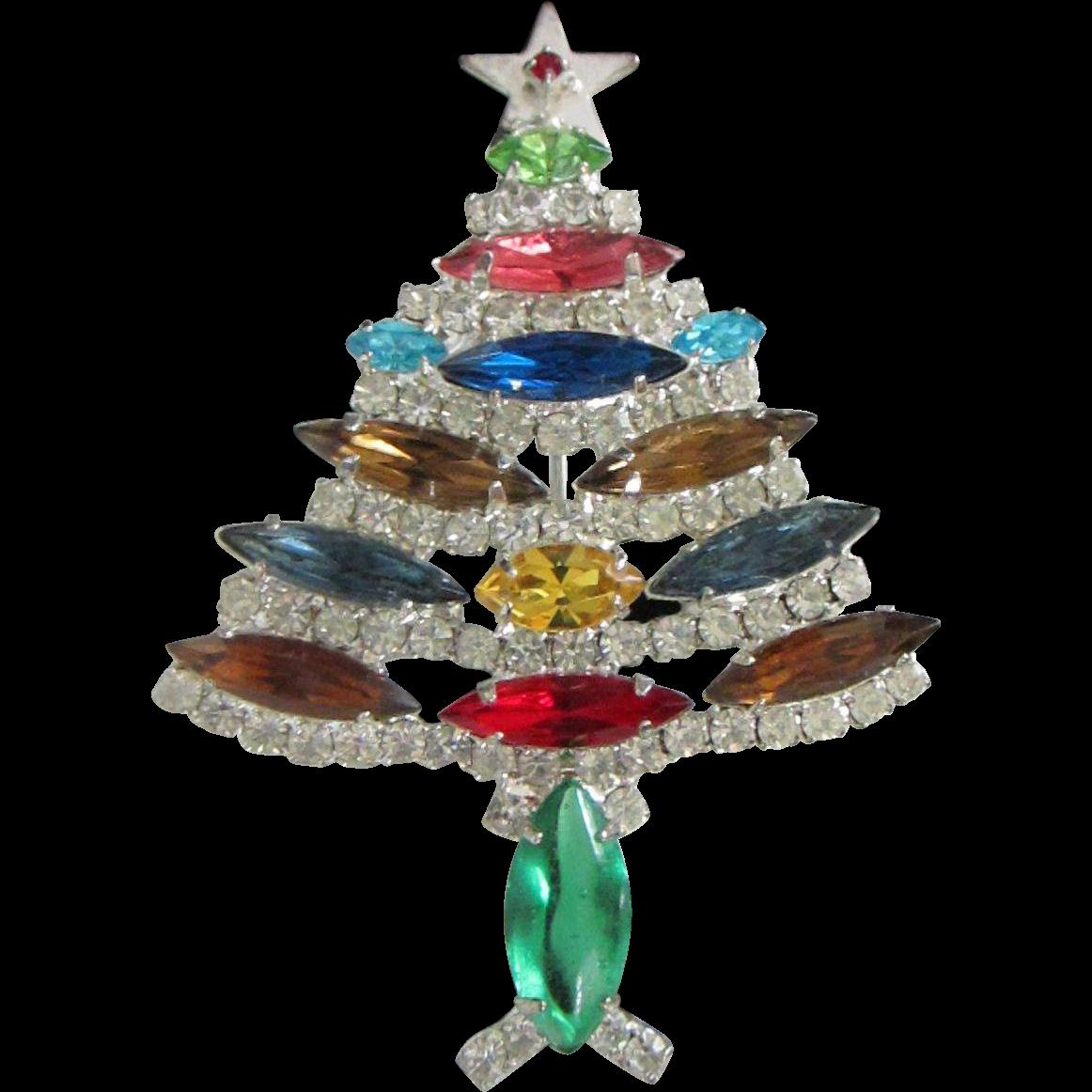 Rhinestone christmas tree holiday pin from rubylane sold on ruby lane