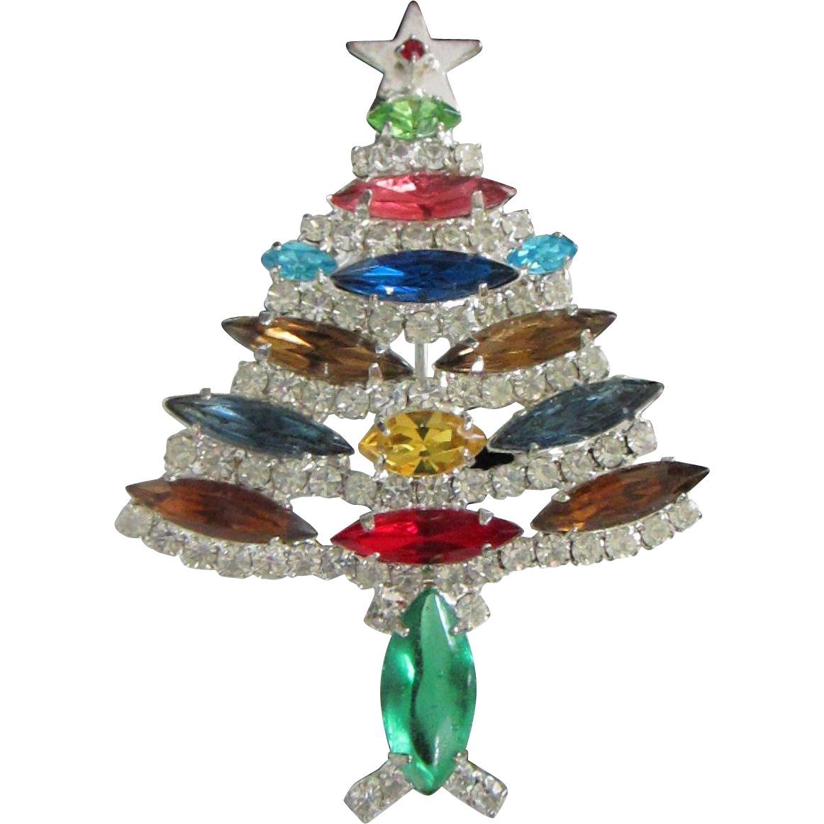Vintage Multi Colored Rhinestone Christmas Tree Holiday
