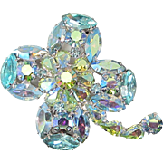 Four Leaf Clover Jonquil and Aquamarine Aurora Borealis Rhinestone Pin, Brooch ~ REDUCED!