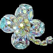 Four Leaf Clover Jonquil and Aquamarine Aurora Borealis Rhinestone Pin, Brooch ~ REDUCED!