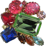 Vivid and Abstract Multi Colored Rhinestone Pin Brooch ~ REDUCED!