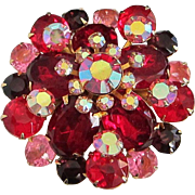 Vivid Ruby Red, Pink, and Dark Amethyst Rhinestone Pin Brooch
