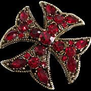 Vintage Ruby Red Rhinestone Maltese Cross Pin or Pendant