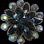 Montana Blue and Sapphire AB Rhinestone Brooch Pin