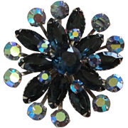 Montana Blue and Sapphire AB Rhinestone Brooch Pin ~ REDUCED!