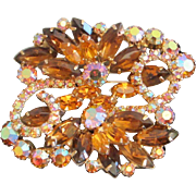 Uniquely Beautiful Light and Dark Topaz, AB Rhinestone Brooch, Pin