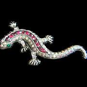 Dazzling Rhinestone Salamander, Lizard Pin Brooch