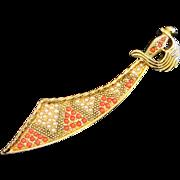 Faux Coral and Pearl Sword, Scimitar Pin, Brooch