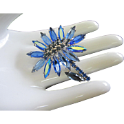 Czechoslovakia Brilliant Blue Navette Flower Pin