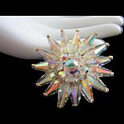 Radiant Aurora Borealis Crystal Pin Brooch