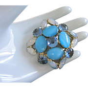 Turquoise and Sapphire Cabochon Pin Brooch