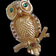 Coro Petite Gold Tone Owl Pin with Faux Pearls, Rhinestones