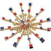 Patriotic Burst of Red, Clear and Blue Rhinestones Pin, Brooch