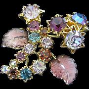 Shimmering Amethyst, Lilac Rhinestones Stars, Glass Leaves Pin Brooch