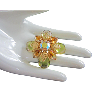 Vintage Jonquil and Topaz Rhinestone Pin Brooch