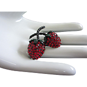 Weiss Japanned Double Strawberries Rhinestone Pin