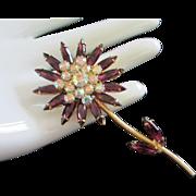 Striking Amethyst and AB Rhinestone Flower Pin Brooch ~ REDUCED!