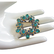 Vibrant Teal and Sapphire Rhinestone Flowers Pin Brooch