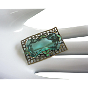Brass, Enamel and Aquamarine Rhinestone Pin Brooch