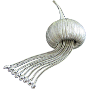 Corocraft Coro Craft Brushed Silver Tone Gourd with Dangles Pin Brooch