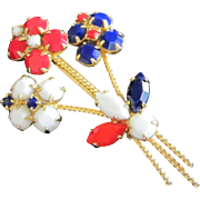 Patriotic Milk Glass Flowers Pin Brooch in Red, White and Blue