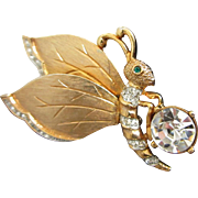 Craft Rhinestone, Gold Tone Butterfly Pin Brooch