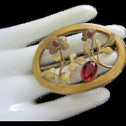 Antique Art Nouveau Gilded Brass Sash Buckle Pin Flowers Ruby Glass