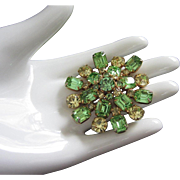 Vintage Kramer Peridot and Jonquil Rhinestone Brooch Pin ~ REDUCED!