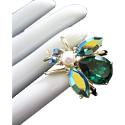Vintage Emerald and AB Rhinestone Insect, Bug, Bee, Fly Pin Brooch ~ REDUCED!
