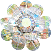 Vendome Jonquil AB Rhinestone and Crystals Flower Pin Brooch