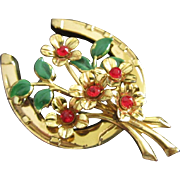 Lucky Horseshoe and Rhinestone Flower Bouquet Pin Brooch