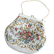 Vintage Floral Embroidered and Beaded Purse