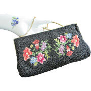 Vintage Black Beaded and Embroidered Purse Handbag Clutch with Floral Design, Hong Kong
