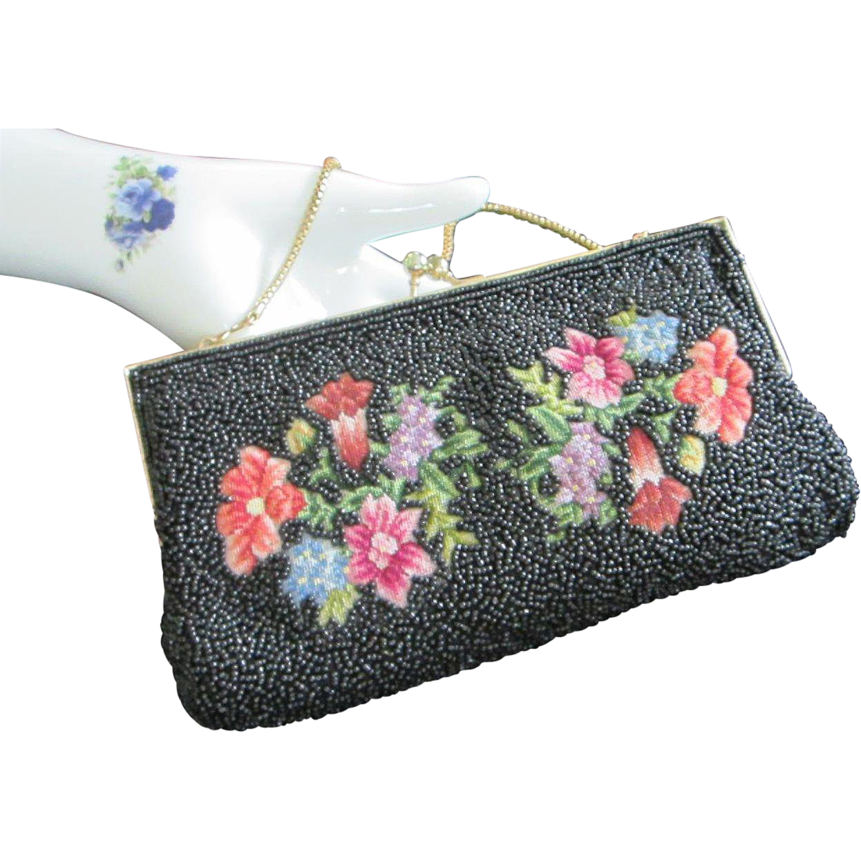 Vintage black beaded and embroidered purse handbag clutch