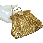 Vintage Whiting & Davis Small Gold Metal Mesh Purse with Jeweled Clasp