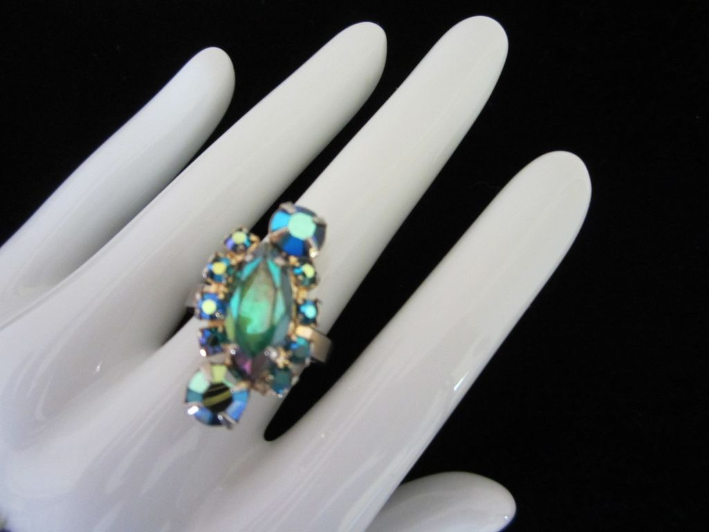 Vintage AB Rhinestone Adjustable Ring ~ REDUCED!