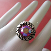 Vintage Large Watermelon Rhinestone Ring, Adjustable ~ REDUCED, 1/2 OFF!