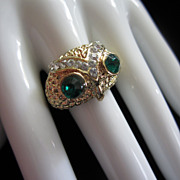 Fabulous Vintage Rhinestone Owl Ring, Size 10 ~ REDUCED!