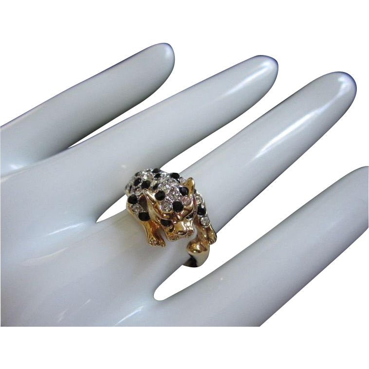 Vintage Jet Black & Clear Rhinestone Leopard Ring, Size 9  ~ REDUCED!!