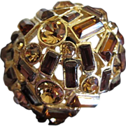 Incredible 3 Shades of Topaz Rhinestone Ring, Size 12 ~ REDUCED!