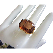 Large Open Back Topaz Rhinestone Ring, Size 11