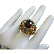 Florenza Garnet Red Rhinestone and Faux Turquoise Ring, Adjustable ~ REDUCED!