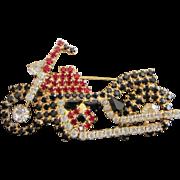 Vintage Roaring Rhinestone Motorcycle Pin Brooch