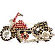 Vintage Roaring Rhinestone Motorcycle Pin Brooch ~ REDUCED!