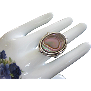 Gorgeous and Substantial Whiting and Davis Abalone Ring, Size 12